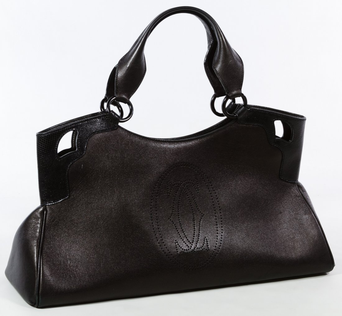 Cartier 'Marcello' Black Leather and Lizard Hand Bag - 2