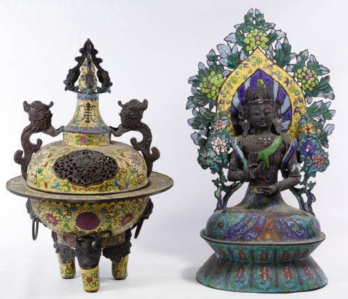 Asian Cloisonne Censor and Buddha Figurine