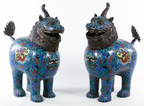 Asian Cloisonne Lidded Dogs