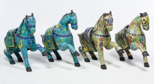 Asian Cloisonne Prancing Horse Figurine Assortment