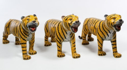 Asian Cloisonne Tiger Figurines