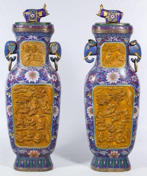 Asian Cloisonne Vases in Original Box