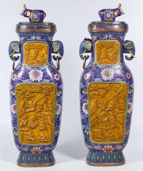 Asian Cloisonne Vases in Original Box - 2