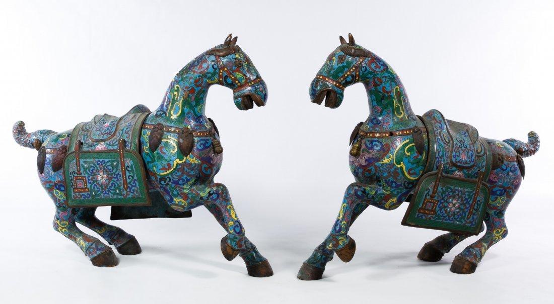 Asian Cloisonne Prancing Horse Figurines