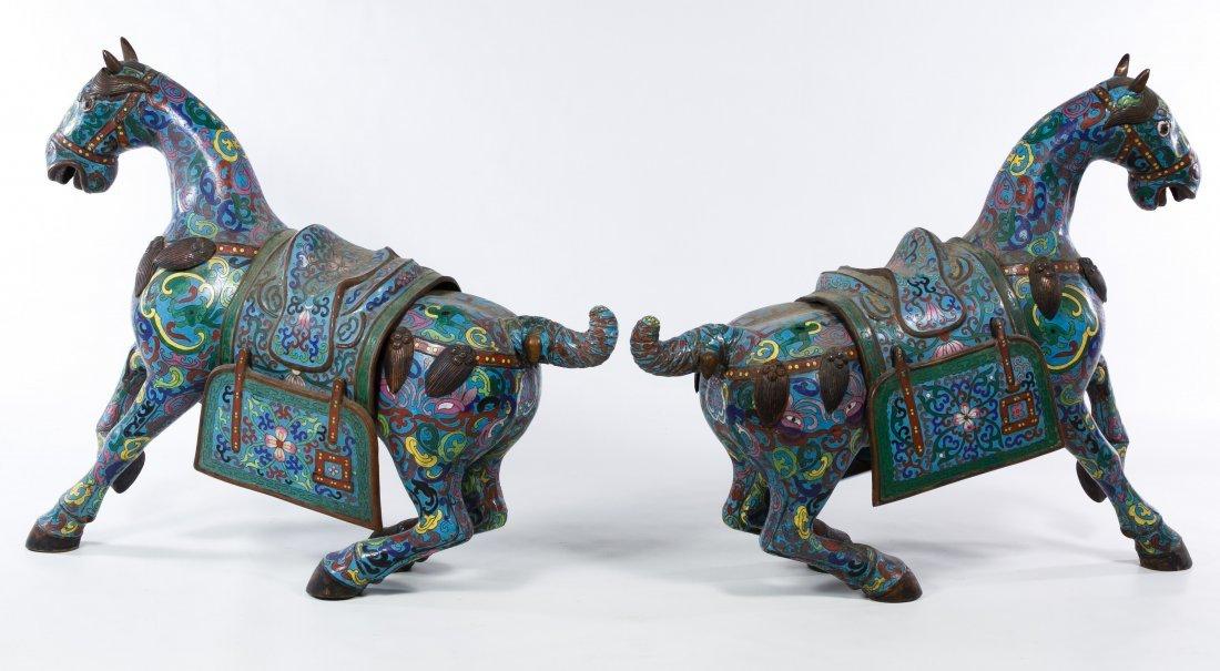 Asian Cloisonne Prancing Horse Figurines - 2