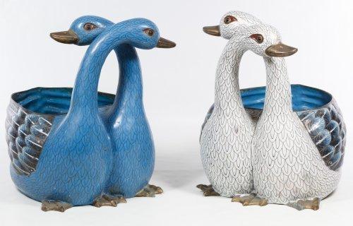 Asian Cloisonne Duck Figural Planters