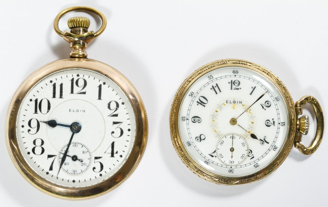 Elgin Gold Filled Open Face Case Pocket Watches