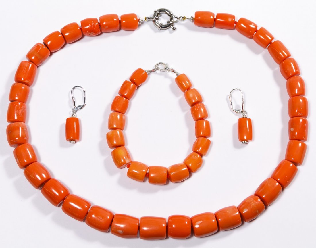 Salmon Coral Jewelry Suite