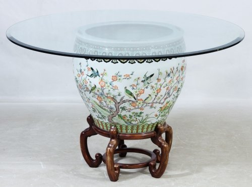 Asian Style Fish Bowl and Glass Top Coffee Table