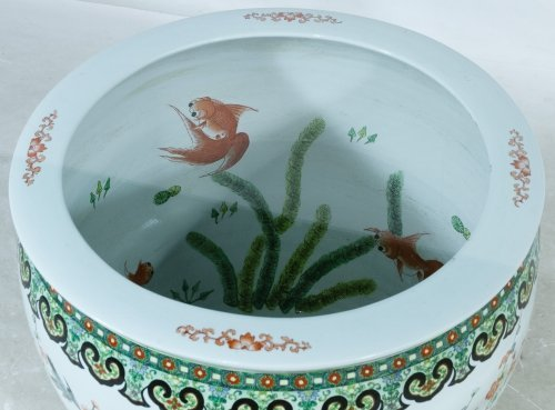 Asian Style Fish Bowl and Glass Top Coffee Table - 2