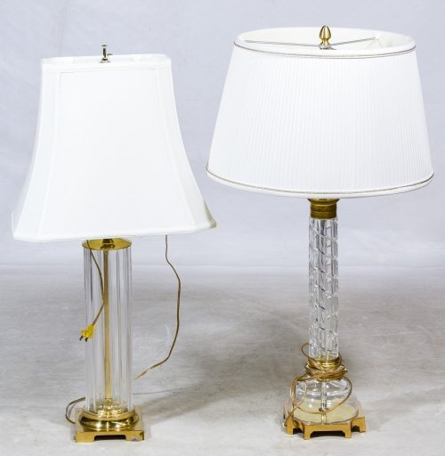 Crystal and Brass Table Lamps
