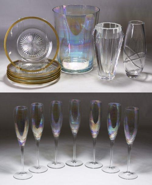 Orrefors Vase and Iridescent Stemware Assortment