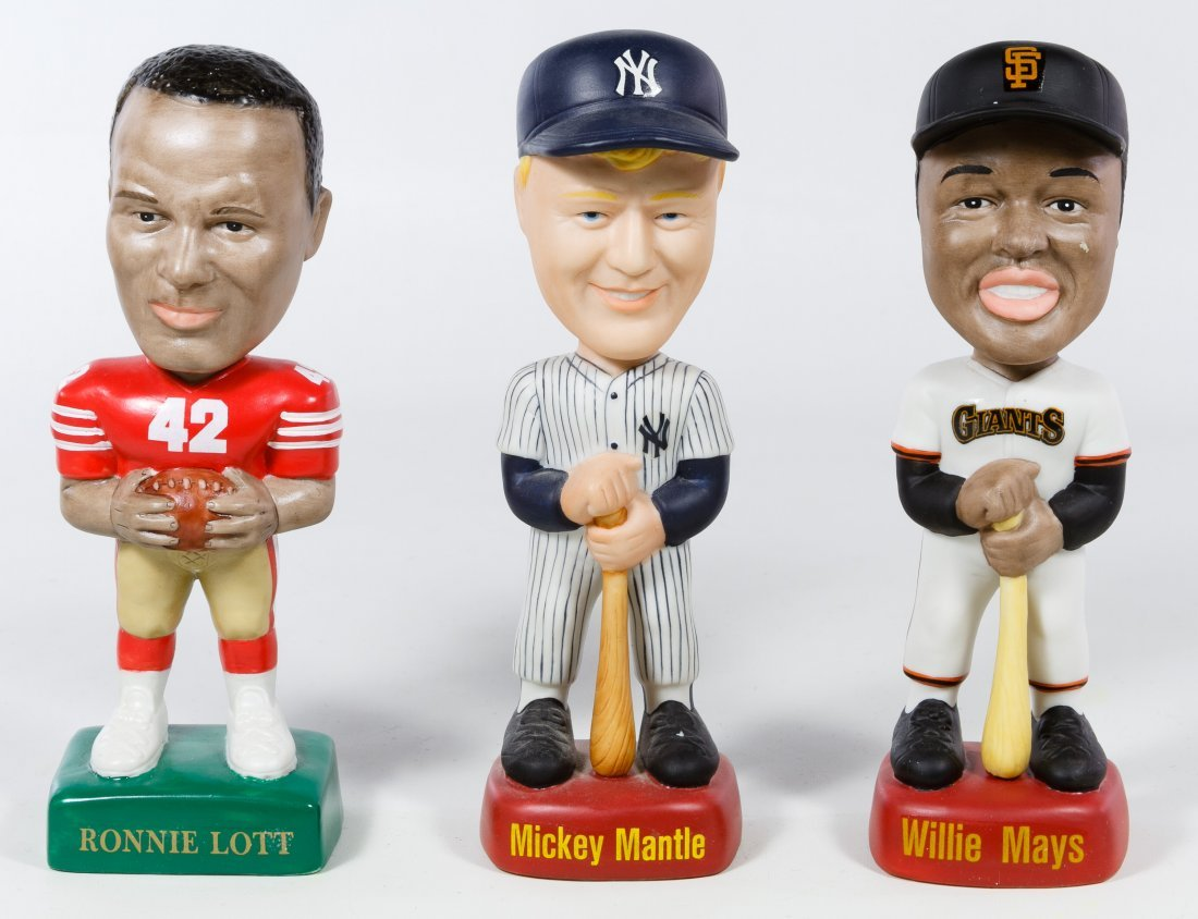 Porcelain Baseball and Football Player Bobbleheads