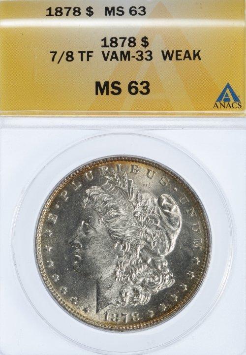 1878 $1 7/8TF MS-63 ANACS