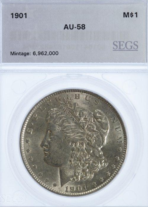 1901 $1 AU-58 SEGS