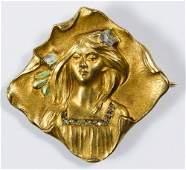 14k Gold and Diamond Pin  Watch Holder