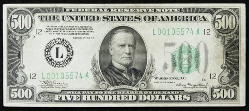 1934-A $500 Federal Reserve Note San Fransisco VF