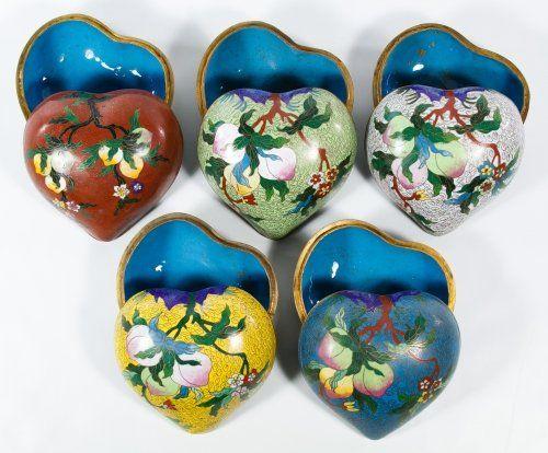 Asian Cloisonne Heart Shaped Trinket Boxes