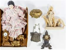 Jewelry Box, Purse, Clock and Doll Assortment