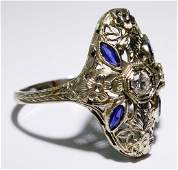 18k White Gold, Blue Spinel and Diamond Ring