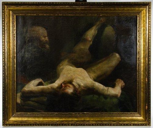 European School (19th Century) Religious Oil on Canvas