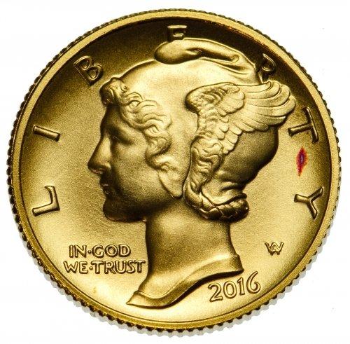 2016 Mercury Dime Centennial Gold Coin - 2