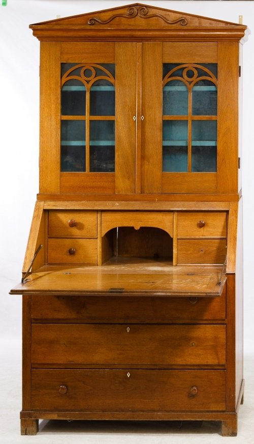 Hickory Library Top Secretary Desk - 2