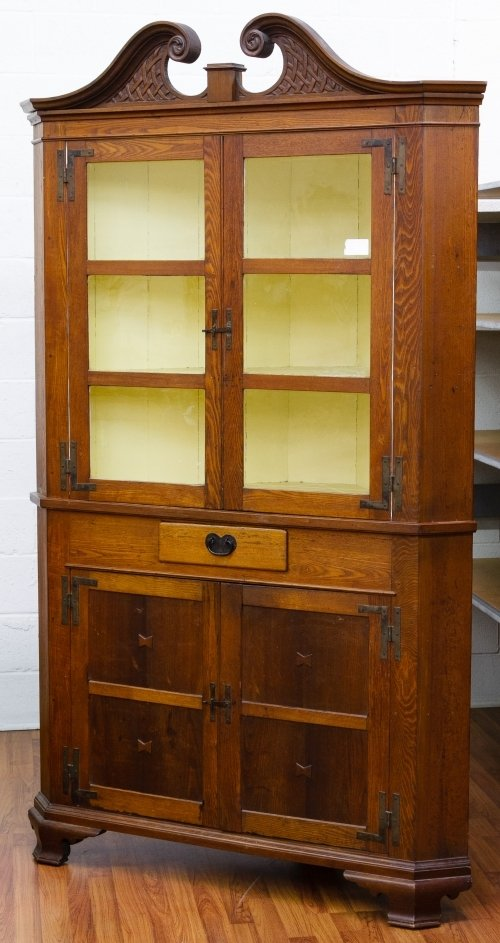 Chippendale Style Mixed Wood Corner Cabinet