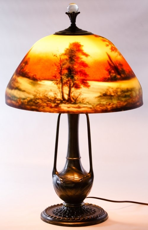 Reverse Painted Glass Lamp Shade by Moe Bridges Co.