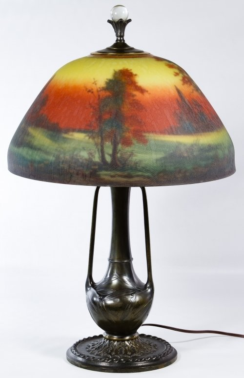 Reverse Painted Glass Lamp Shade by Moe Bridges Co. - 2