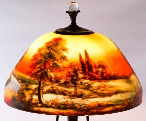 Reverse Painted Glass Lamp Shade by Moe Bridges Co. - 4