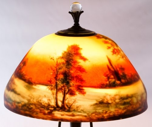 Reverse Painted Glass Lamp Shade by Moe Bridges Co. - 5