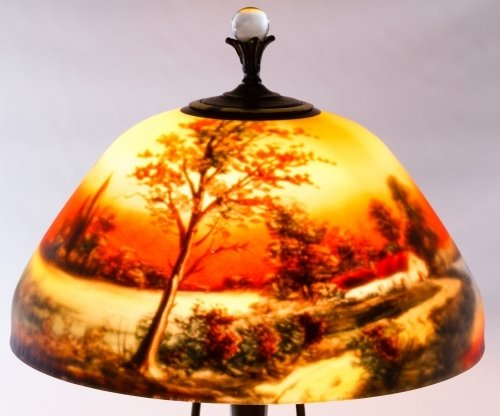 Reverse Painted Glass Lamp Shade by Moe Bridges Co. - 6
