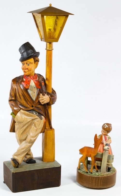 German Carved Wood Whistling Automaton Lamp by Karl