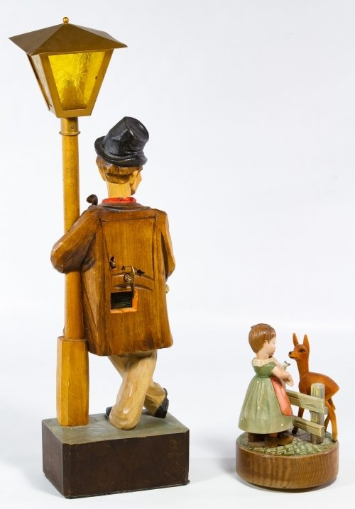German Carved Wood Whistling Automaton Lamp by Karl - 2
