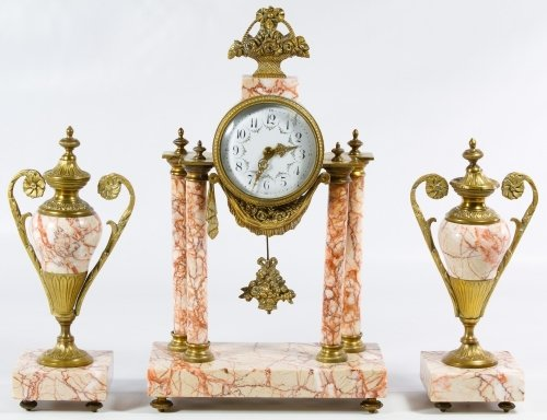 French Marble Clock and Garniture Set