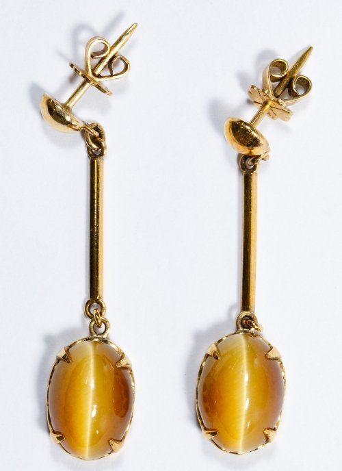 14k Gold and Cats Eye Pierced Earrings