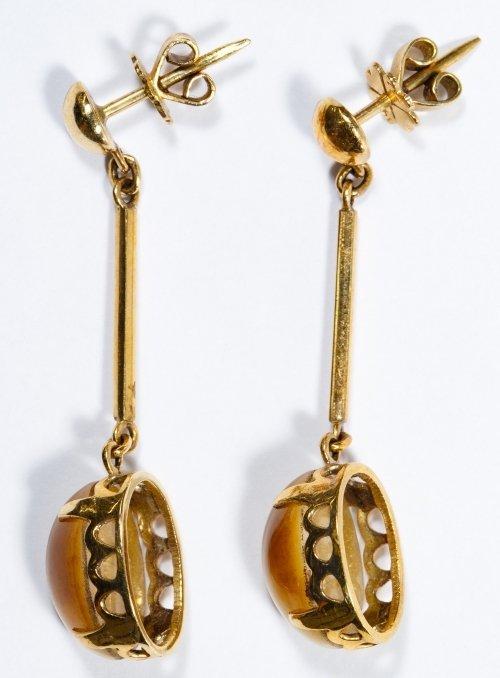 14k Gold and Cats Eye Pierced Earrings - 2