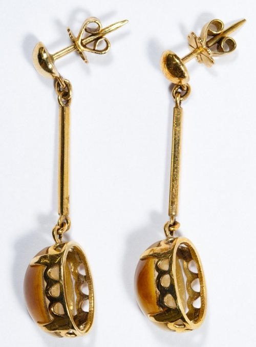 14k Gold and Cats Eye Pierced Earrings - 2