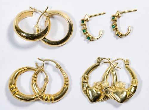 14k Gold Pierced Earring Assortment