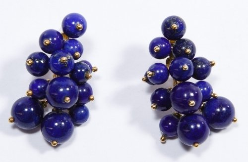 14k Gold and Lapis Lazuli Pierced Earrings
