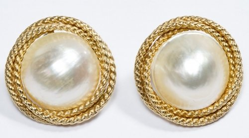 14k Gold and Mabe Pearl Pierced Earrings