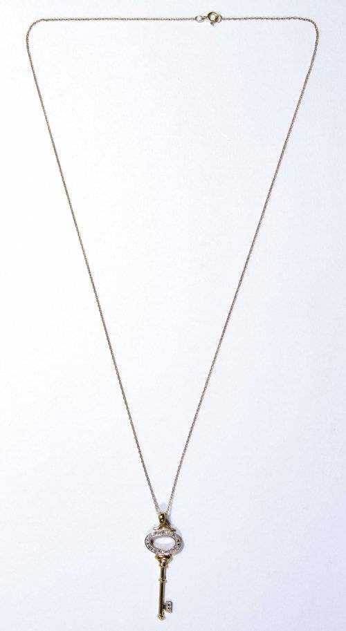 Helzberg 10k Gold and Diamond Pendant and Necklace - 2
