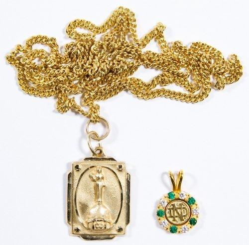 14k and 10k Gold Notre Dame Pendants