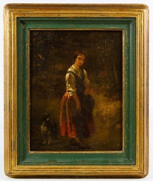 Dutch School (19th Century) 'Female with Dog' Oil on