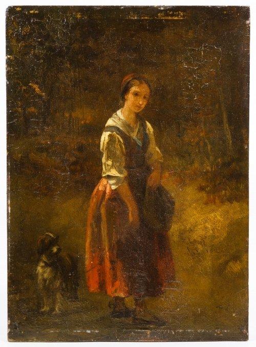 Dutch School (19th Century) 'Female with Dog' Oil on - 2