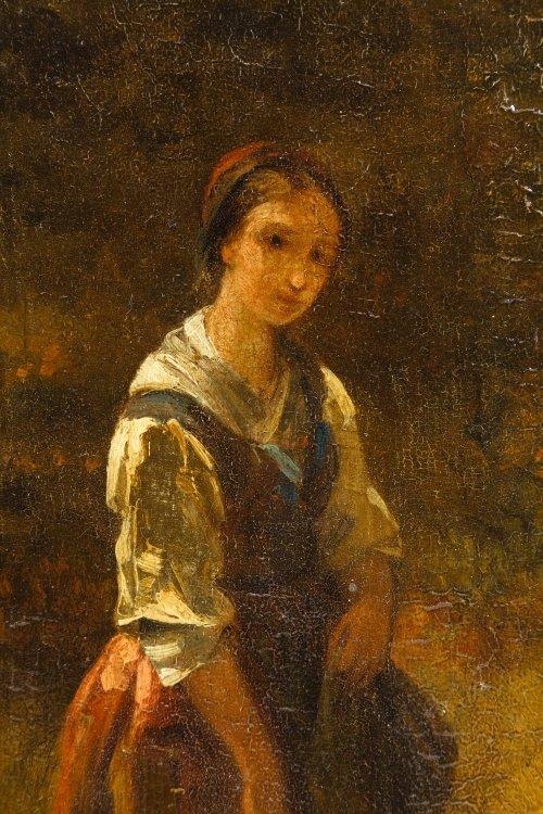 Dutch School (19th Century) 'Female with Dog' Oil on - 4