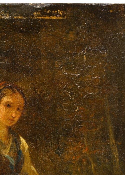 Dutch School (19th Century) 'Female with Dog' Oil on - 5