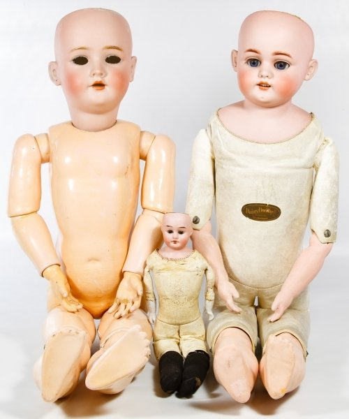 Antique German Bisque Head Doll Assortment