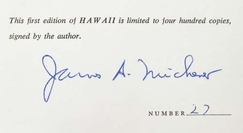 James A. Michener 'Hawaii' Signed First Edition - 4